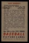 1951 Bowman #296   Bob Kennedy Back Thumbnail