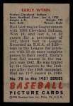 1951 Bowman #78  Early Wynn  Back Thumbnail