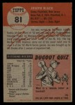 1953 Topps #81  Joe Black  Back Thumbnail