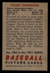 1951 Bowman #294  Jocko Thompson  Back Thumbnail