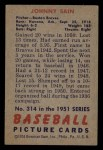 1951 Bowman #314  Johnny Sain  Back Thumbnail