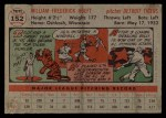 1956 Topps #152   Billy Hoeft Back Thumbnail