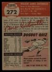 1953 Topps #272   Bill Antonello Back Thumbnail