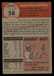 1953 Topps #58  George Metkovich  Back Thumbnail
