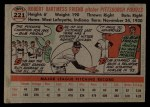 1956 Topps #221  Bob Friend  Back Thumbnail