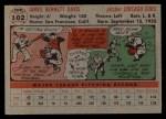 1956 Topps #102   Jim Davis Back Thumbnail