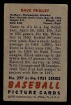 1951 Bowman #297   Dave Philley Back Thumbnail
