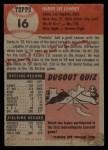 1953 Topps #16   Peanuts Lowrey Back Thumbnail