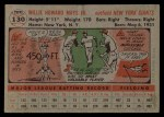1956 Topps #130  Willie Mays  Back Thumbnail