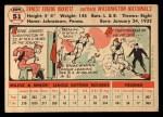 1956 #51  Ernie Oravetz  Back Thumbnail