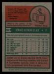 1975 Topps #521   Dennis Blair Back Thumbnail