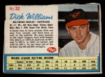 1962 Post Cereal #32  Dick Williams   Front Thumbnail