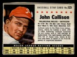 1961 Post Cereal #123 BOX Johnny Callison  Front Thumbnail