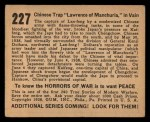 1938 Gum Inc. Horrors of War #227   Chinese Trap Lawrence of Manchuria in Vain Back Thumbnail