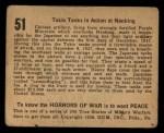 1938 Gum Inc. Horrors of War #51   Tokio Tanks in Action at Nanking Back Thumbnail