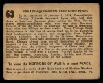 1938 Gum Inc. Horrors of War #63  The Chiangs Decorate Their Crack Flyers  Back Thumbnail