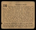 1938 Gum Inc. Horrors of War #116   Surrender or Perish Back Thumbnail