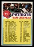 1974 Topps Football Team Checklists #16   Patriots Team Checklist Front Thumbnail