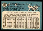 1965 Topps #310  Johnny Callison  Back Thumbnail