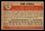 1953 Bowman #112  Toby Atwell  Back Thumbnail