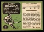 1970 Topps #81  Larry Hillman  Back Thumbnail