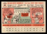 1956 Topps #61   Bill Skowron Back Thumbnail