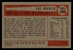 1954 Bowman #105 A  Sal Maglie Back Thumbnail