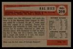 1954 Bowman #219   Hal Rice Back Thumbnail