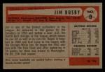 1954 Bowman #8  Jim Busby  Back Thumbnail