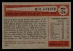 1954 Bowman #39  Ned Garver  Back Thumbnail