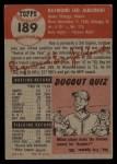 1953 Topps #189  Ray Jablonski  Back Thumbnail