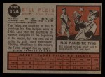 1962 Topps #124 A  Bill Pleis Back Thumbnail