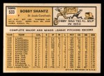 1963 Topps #533   Bobby Shantz Back Thumbnail