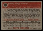 1952 Topps #224   Bruce Edwards Back Thumbnail