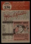 1953 Topps #274  John Riddle  Back Thumbnail