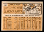 1963 Topps #215  Bob Skinner  Back Thumbnail