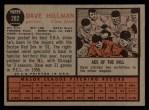 1962 Topps #282   Dave Hillman Back Thumbnail