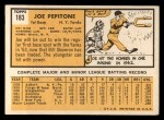 1963 Topps #183   Joe Pepitone Back Thumbnail