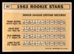 1963 Topps #407  Rookies    -  Frank Kostro / Chico Ruiz / Larry Elliot / Dick Simpson Back Thumbnail