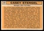 1963 Topps #233  Casey Stengel  Back Thumbnail