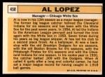 1963 Topps #458   Al Lopez Back Thumbnail