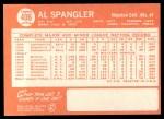 1964 Topps #406   Al Spangler Back Thumbnail