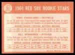 1964 Topps #287  Red Sox Rookies  -  Tony Conigliaro / Bill Spanswick Back Thumbnail