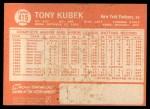 1964 Topps #415   Tony Kubek Back Thumbnail