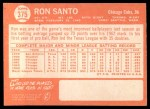 1964 Topps #375   Ron Santo Back Thumbnail