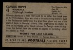 1952 Bowman Small #41   Claude Hipps Back Thumbnail