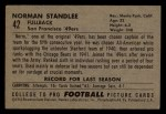 1952 Bowman Small #42   Norm Standlee Back Thumbnail