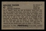 1952 Bowman Small #47   William Fischer Back Thumbnail