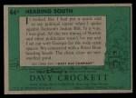 1956 Topps Davy Crockett #44 GRN Heading South   Back Thumbnail