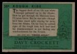 1956 Topps Davy Crockett #59 GRN  Rough Ride  Back Thumbnail